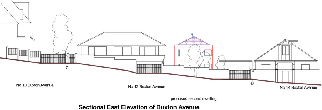 Proposed Street Elevation showing contemporary infill house