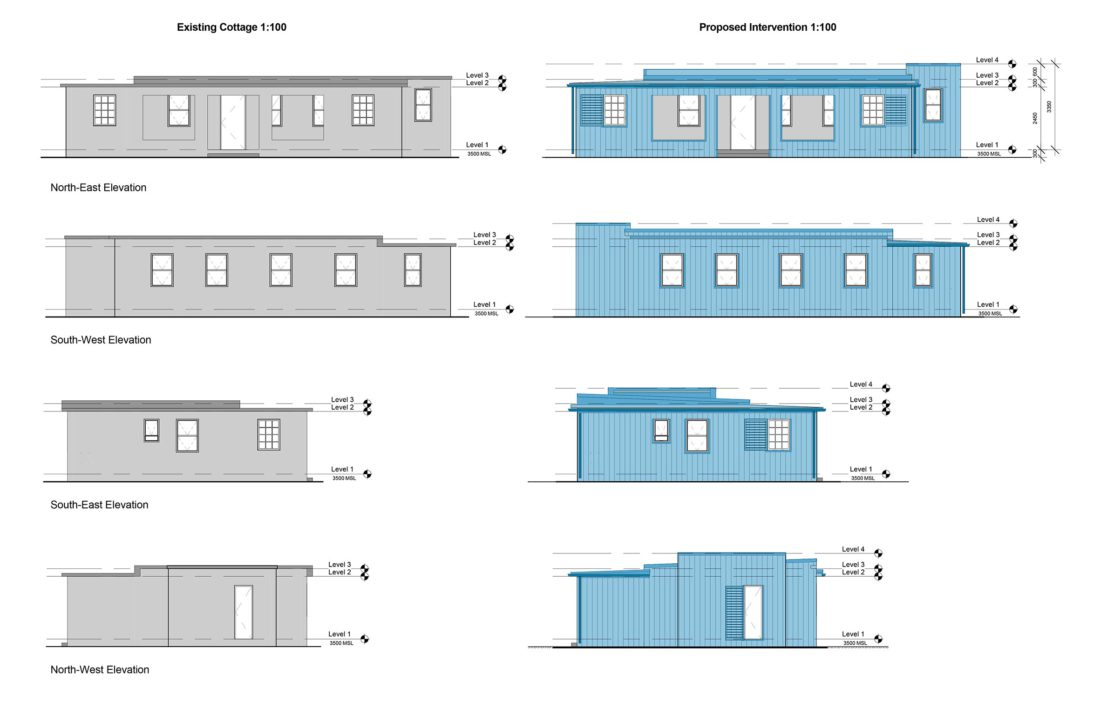 Elevations – Existing and proposed