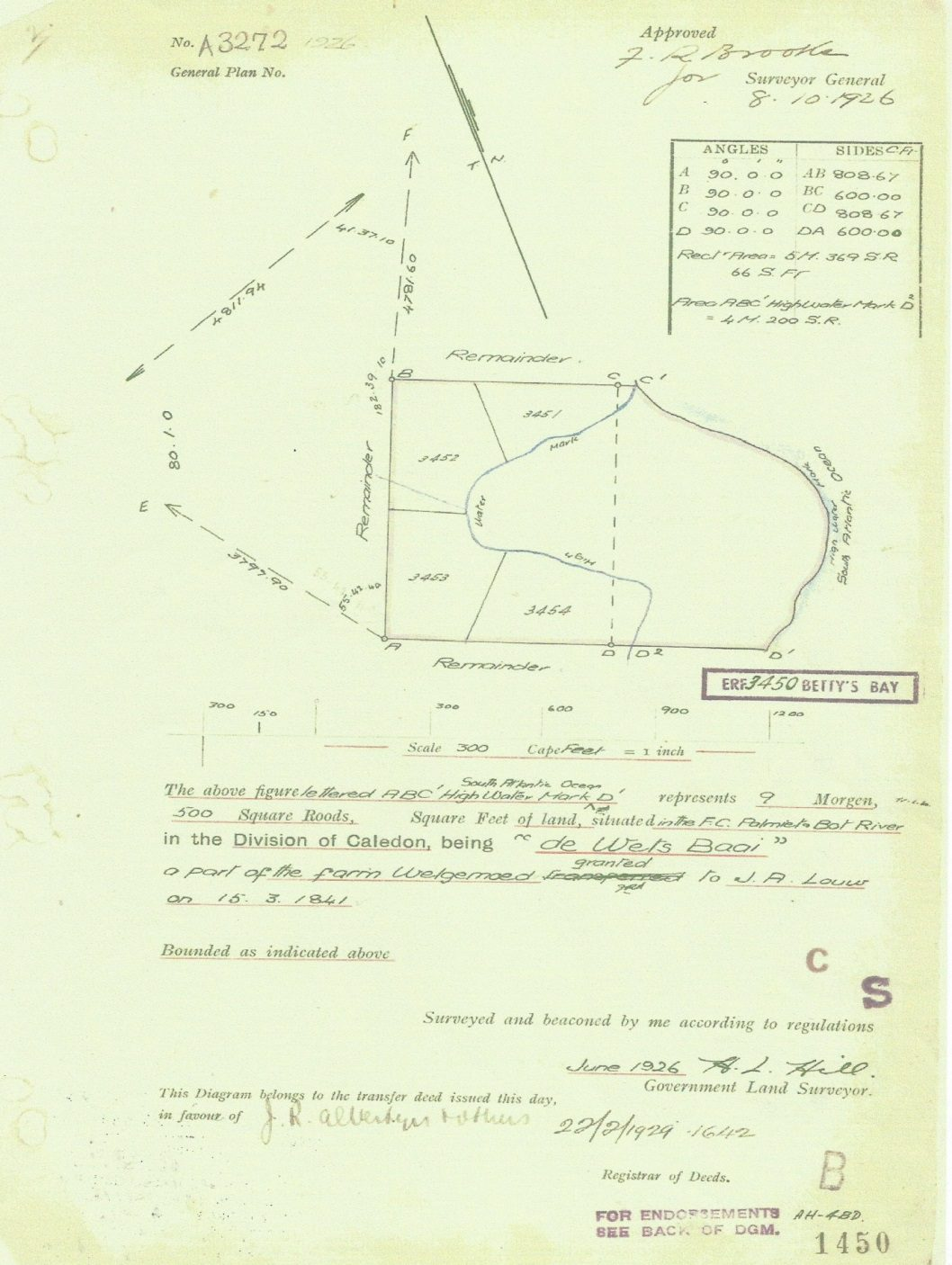 Surveyor General diagram, 1926