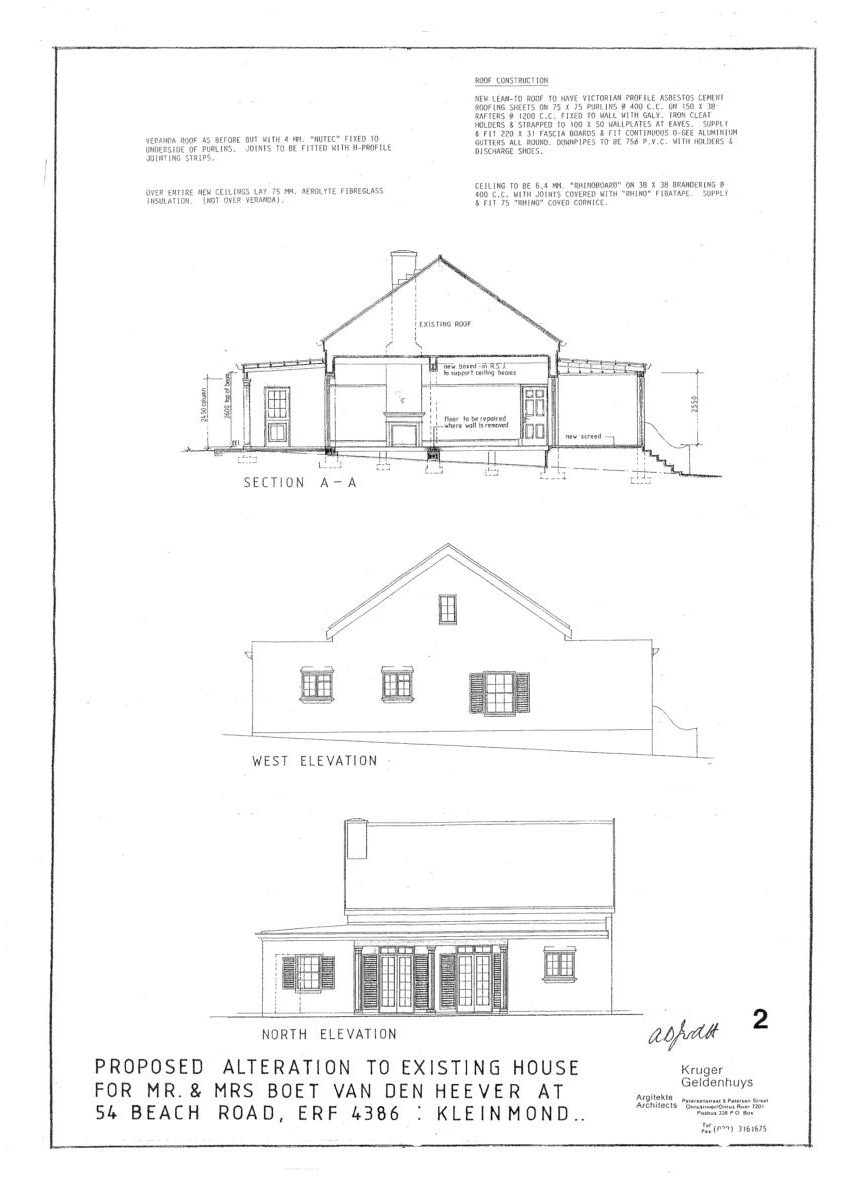 Elevations – Proposed additions in 2001