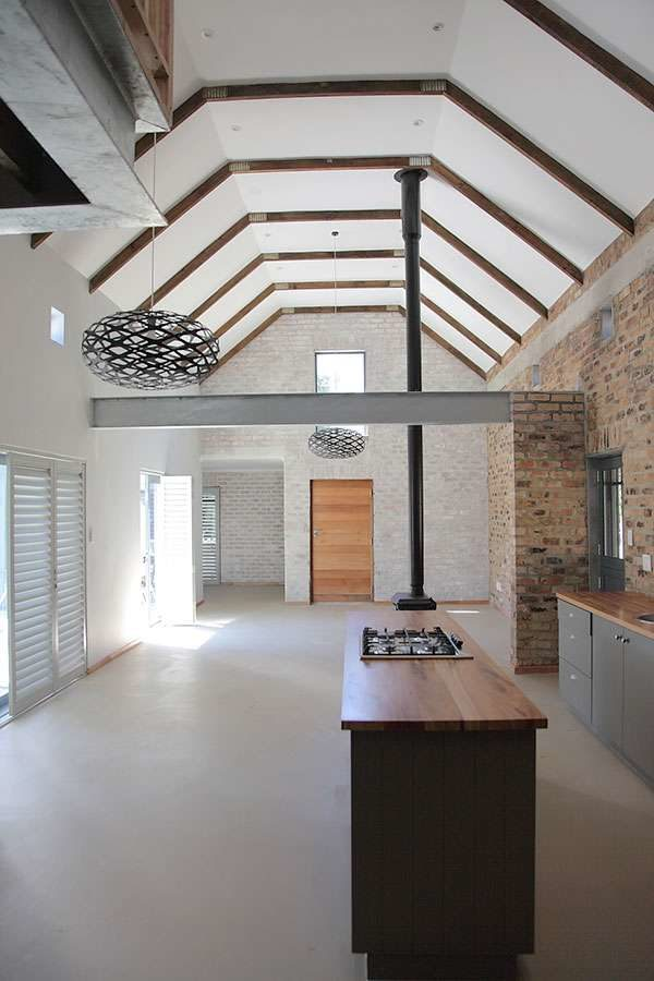 Open plan dining / kitchen with cathedral ceiling
