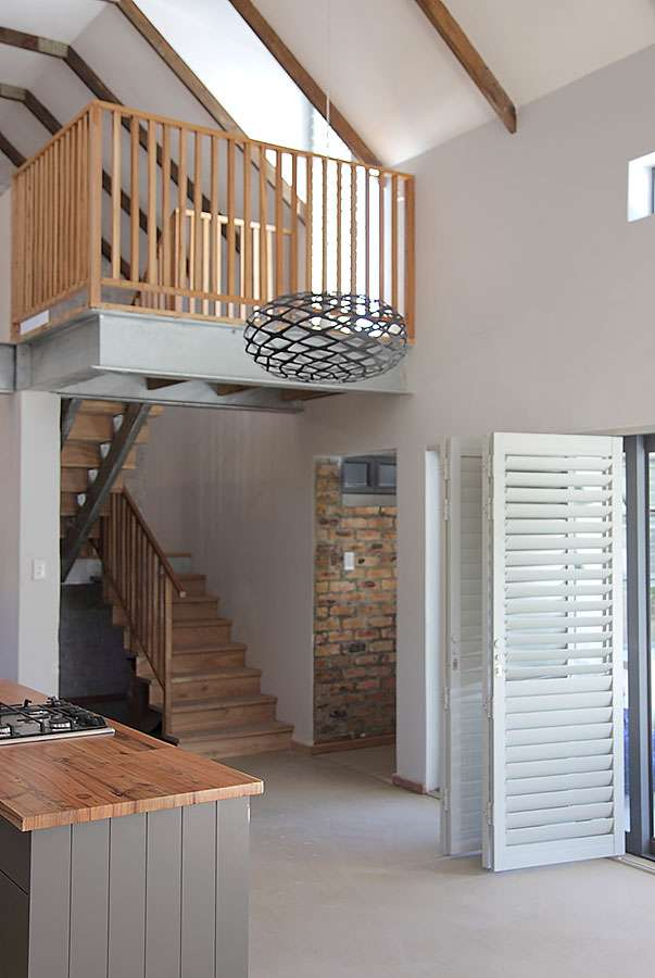 Staircase leading to entertainment deck