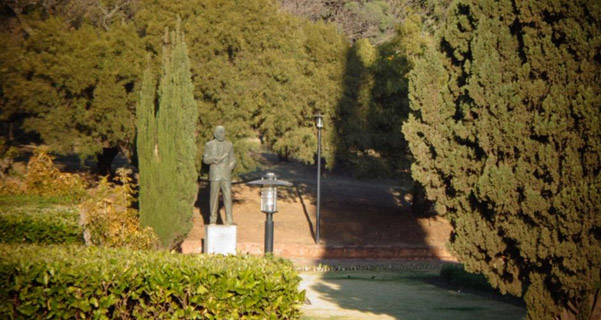 Statue of Hertzog in its new position in the garden at the Union Buildings