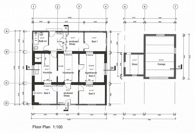 As built floor plan for Troskie Cottage